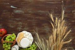 Bild av mejeriprodukter och frukter Symboler av judisk ferie - Shavuot Royaltyfri Bild