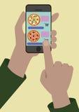 Bild av online-beställningen av pizza stock illustrationer
