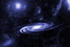 Bild av spiralgalaxen Spiralgalax i djupt utrymme med bakgrund för stjärnafält Dator frambragd abstrakt bakgrund Arkivfoto