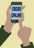 Bild av telefonen i någon händer royaltyfri illustrationer