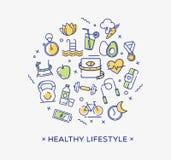 Bild, banta, kondition och näring för sund livsstil begreppsmässig Royaltyfri Bild