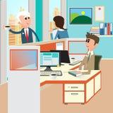 Bild 3D auf weißem Hintergrund Büro-Innenraum mit Arbeitskräften Büro des offenen Raumes Lizenzfreies Stockfoto