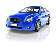 bild 3D av den blåa Sedanbilen Arkivbild