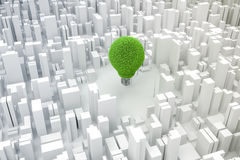 bild 3d av den ljusa kulan och staden, grönt ekonomibegrepp Royaltyfria Bilder