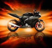 bild 3D av motorcykeln med horisonthorisonten Arkivfoton