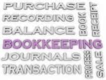 Bild 3d Buchhaltung gibt Konzeptwort-Wolkenhintergrund heraus Lizenzfreies Stockfoto