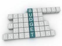 Bild 3d BUDGET-Frage-Konzeptwort-Wolkenhintergrund Lizenzfreie Stockfotos
