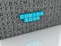 Bild 3d, das bald Konzepttext auf weißem Hintergrund kommt Stockfotografie