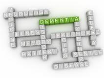 Bild 3d Demenz gibt Konzeptwort-Wolkenhintergrund heraus Stockbild