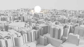 Bild 3d der hellen Glühlampe und der Stadt Stockfotografie
