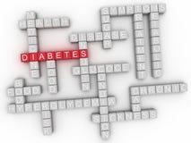 Bild 3d Diabetes gibt Konzeptwort-Wolkenhintergrund heraus Stockbilder