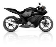 Bild 3D eines schwarzen modernen Motorrads Stockfotografie