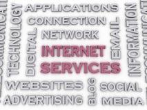 Bild 3d Internet-Service gibt Konzeptwort-Wolkenhintergrund heraus Stockfotografie
