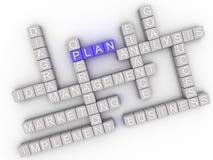 Bild 3d Plan gibt Konzeptwort-Wolkenhintergrund heraus Lizenzfreie Stockfotografie