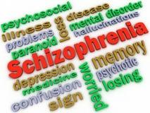 Bild 3d Schizophreniekonzeptwort-Wolkenhintergrund Stockfotos