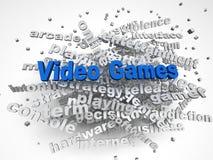 Bild 3d Videospiele gibt Konzeptwort-Wolkenhintergrund heraus Lizenzfreie Stockbilder