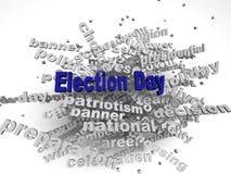 Bild 3d Wahltag gibt Konzeptwort-Wolkenhintergrund heraus Stockfotos