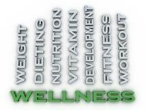 Bild 3d Wellness gibt Konzeptwort-Wolkenhintergrund heraus Stockfotos