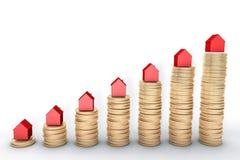 Bild 3d: Wiedergabe der hohen Qualität: Hypothekenkonzept Rote Häuser auf Stapeln der goldenen Münzen auf weißem Hintergrund asph Lizenzfreie Stockbilder