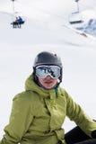 Skifahrer, der einen Bruch nimmt Stockbilder