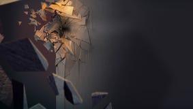 Bild, das zertrümmerte Betonmauer darstellt lizenzfreie stockbilder