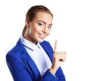Bild der attraktiven jungen Frau mit ihrem Finger oben Lizenzfreie Stockfotografie