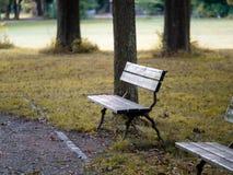 Bild der Bank im Park im Herbst lizenzfreie stockbilder
