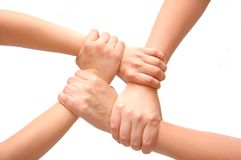 Bild der gekreuzten Hände trennte Weiß Stockfotografie