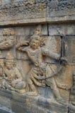 Bild der geschnitzten Steinwand, Borobudur-Tempel, Java, Indonesien stockfotografie