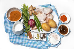 Bild der Hühnercurry-Vorbereitungsservierplatte Lizenzfreies Stockbild