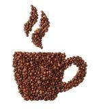 Bild der Kaffeetasse gemacht von den Bohnen lokalisiert auf Weiß Stockfotografie