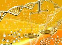 Bild der Kette von DNA und von Waage auf gelbem Hintergrund Stockbilder
