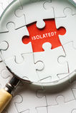 Bild der Lupe den fehlenden Puzzlespielfrieden suchend LOKALISIERT lizenzfreies stockfoto