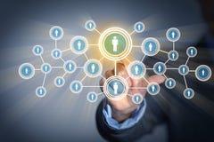 Bild der männlichen rührenden Ikone des Sozialnetzes Stockfotos