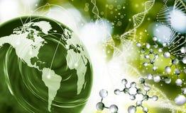 Bild der Molekülstrukturkette von DNA und von abstraktem Planeten auf einem grünen Hintergrund Stockbild