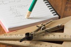Bild der Notizbuch- und Bleistiftnahaufnahme Lizenzfreies Stockfoto