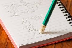 Bild der Notizbuch- und Bleistiftnahaufnahme Lizenzfreie Stockbilder