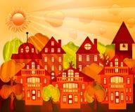 Bild der orange Stadt für orange Stimmung lizenzfreie abbildung