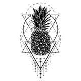 Bild der schwarzen weißen Ananasfrucht mit geometrischen Zahlen Drucken Sie T-Shirt, grafisches Element für Ihr Design, Tätowieru Stockfoto