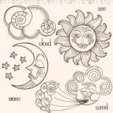 Bild der Sonne, des Mondes, des Winds und der Wolken Stockbilder