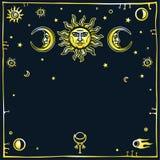 Bild der Sonne und des Mondes mit menschlichen Gesichtern Lizenzfreie Stockfotografie