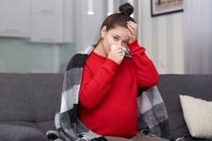 Bild der stressigen traurigen schwangeren Frau hat schreckliche Kopfschmerzen, Fieber und Betriebsnase, leidet unter dem konstant lizenzfreies stockbild