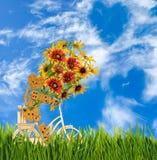 Bild des dekorativen kleinen Mannes und der Blumen auf einem Fahrrad gegen den Himmel Stockbild
