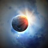 Bild des Erdplaneten im Platz Stockbilder