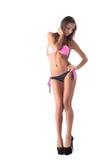 Bild des flirtend stilvollen Mädchens, das im Bikini aufwirft Stockfotografie