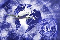 Bild des Flugzeuges auf stilisierter abstrakter Hintergrundnahaufnahme Stockbilder