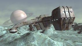 Bild des futuristischen Raumschiffes über Planeten Stockfoto