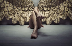 Bild des Goldengels entspannend auf dem Boden Stockfoto