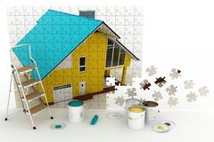 Bild des Hauses mit Farben und Bockleiter Stockfoto