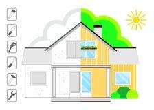Bild des Hauses vor Reparatur und nach Reparatur Satz Werkzeuge für Reparatur Stockfotos